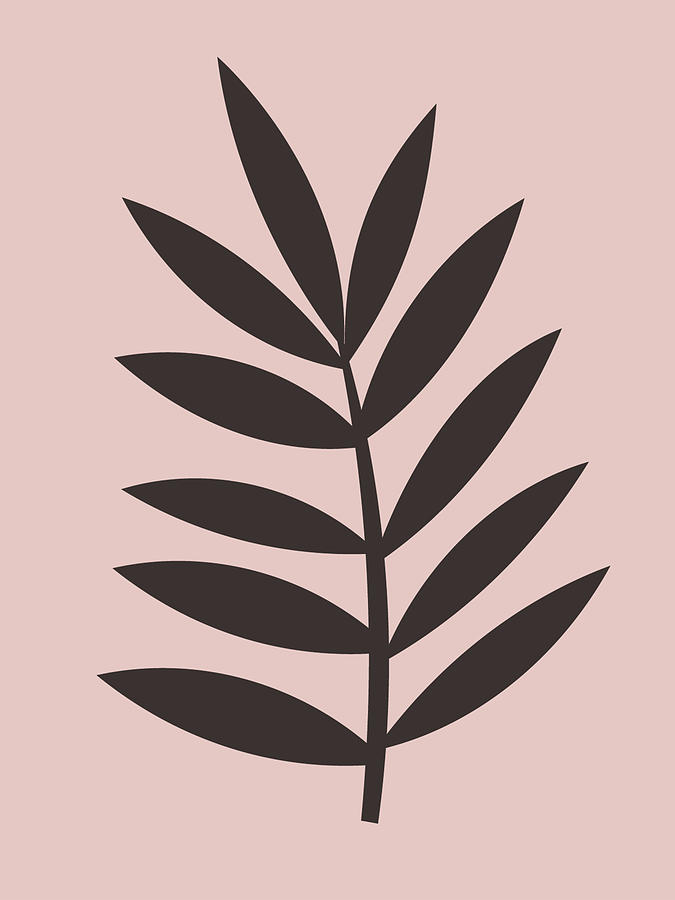 Tropical Leaf Mixed Media - Blush Pink Leaf I by Naxart Studio