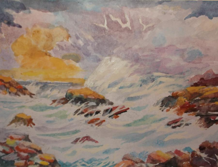 Clouds Painting - Blustering Clouds And Restless Sea by Al Brown
