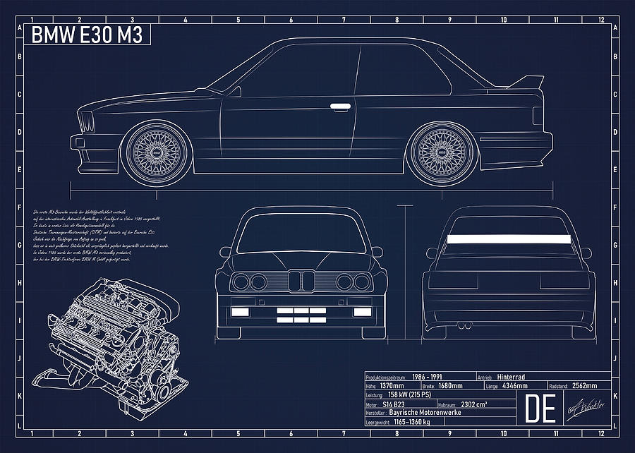 BMW E46 M3 Poster Car Vintage Blueprint Art