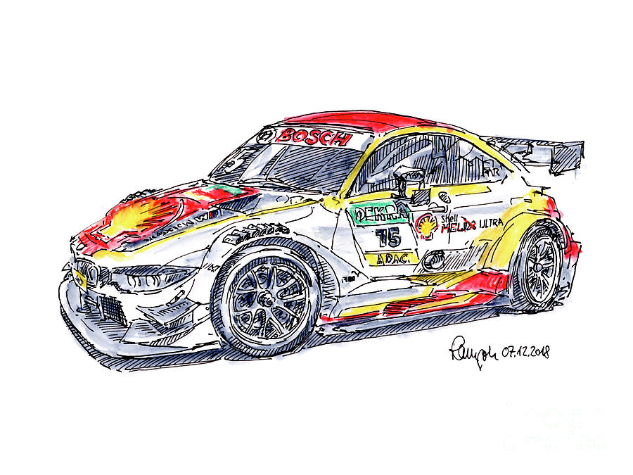 Bmw M4 Dtm Racecar Ink Drawing And Watercolor