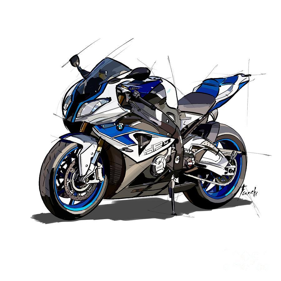 Bikers Drawing - bmw motorcycle hp4. Original artwork. Original gift for bikers by Drawspots Illustrations