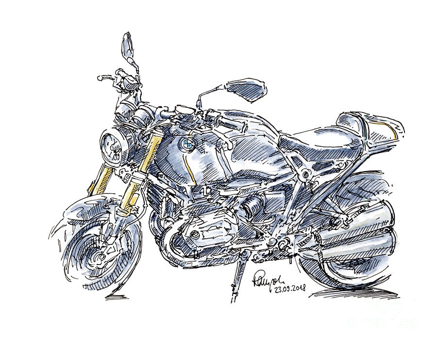 Motorbike Drawing - BMW R NINE T Motorcycle Ink Drawing and Watercolor by Frank Ramspott
