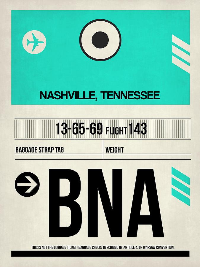 Vacation Digital Art - Bna Nashville Luggage Tag II by Naxart Studio