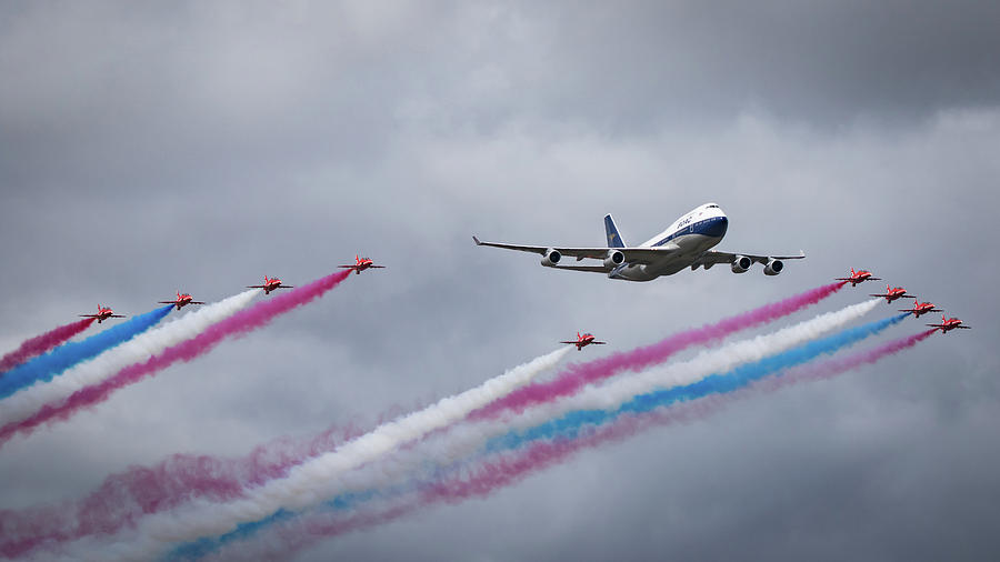 Boac Boeing 747 And Red Arrows Photograph