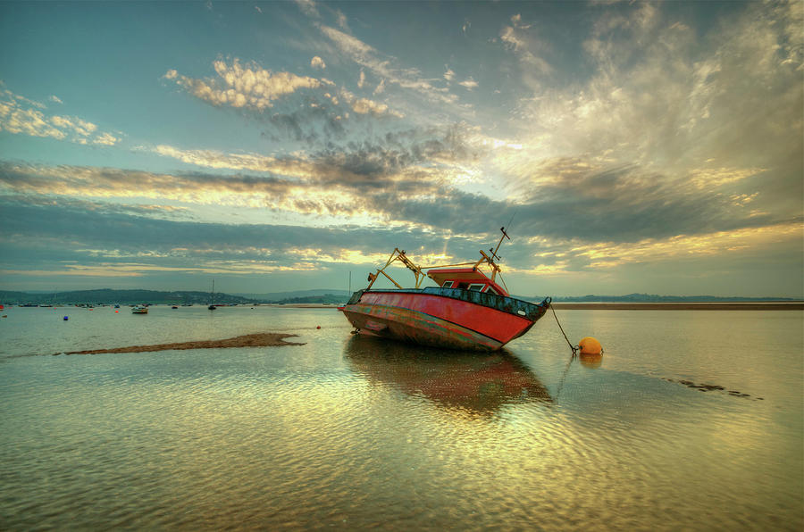 Boat At Low Tide Sunset Photograph by Image By Debbie Margetts - Ancora Imparo