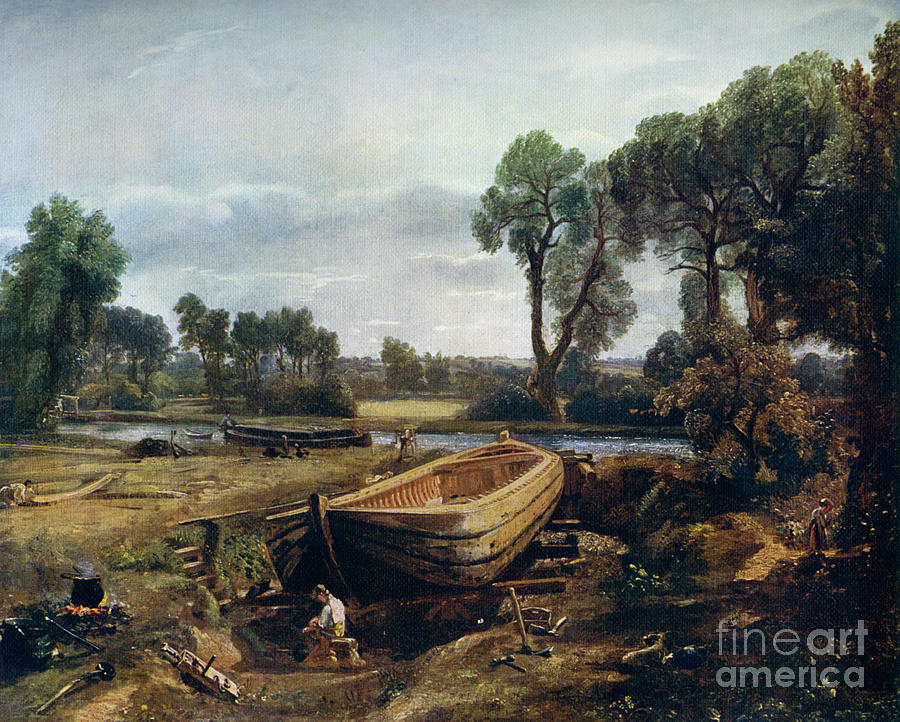 Boat Building Near Flatford Mill, 1815 Drawing by Print Collector