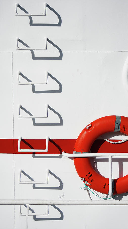Boat Detail With Lifebuoy And Steps Photograph by Stuart Paton