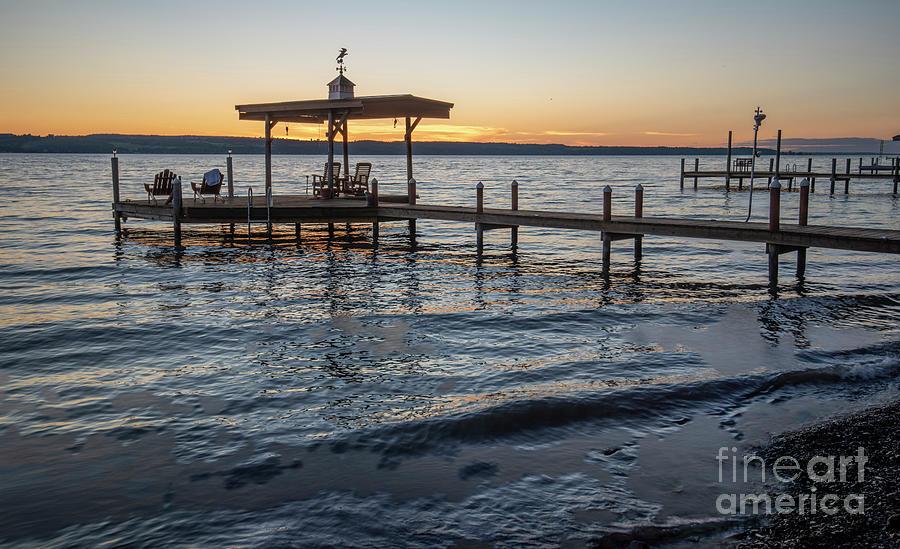 Boat Dock Sunset On Seneca Lake by Michael D Miller