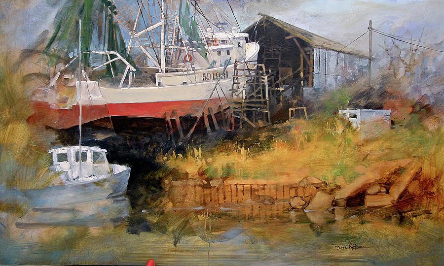 Boat In Drydock Painting by Dan Nelson
