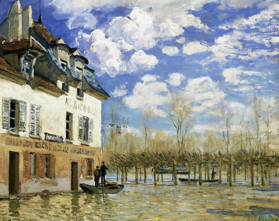 Alfred Sisley Painting - Boat In The Flood At Port Marly - Digital Remastered Edition by Alfred Sisley