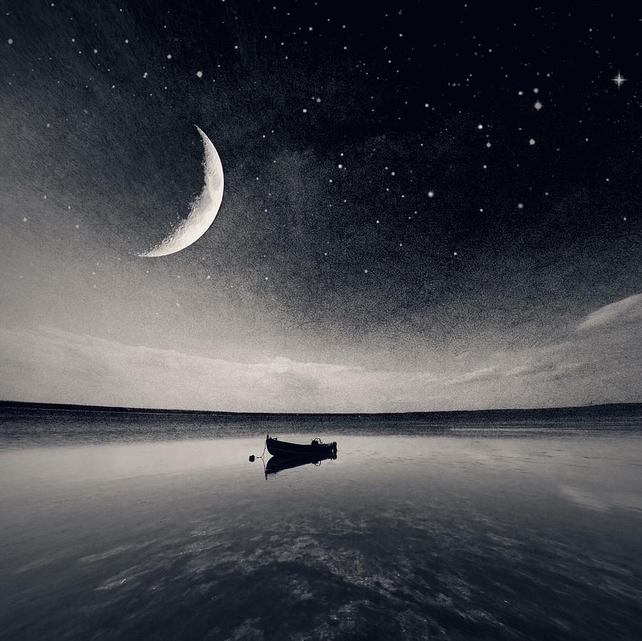 Boat On Lake At Night Photograph by Mateusz Sawicki / Eyeem