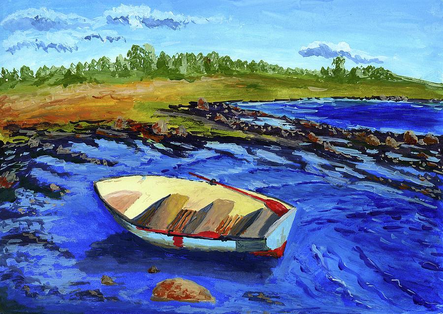 Boat On Lake Shore Digital Art by Nadezda Kozulina