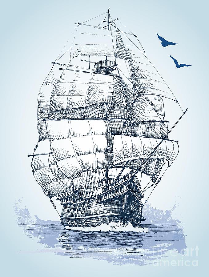 Sailboat Digital Art - Boat On Sea Drawing Sailboat Vector by Danussa