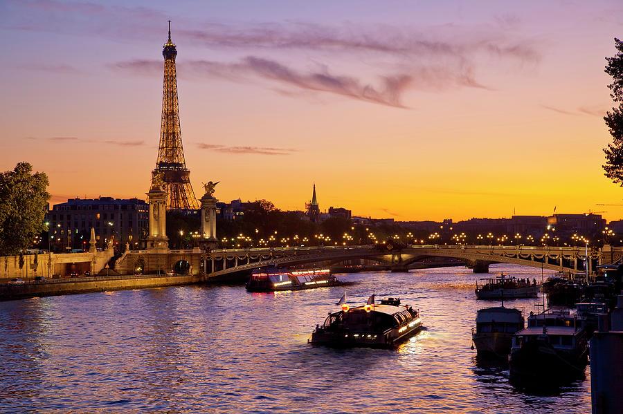 Boat On Seine River, Paris Photograph by Sylvain Sonnet