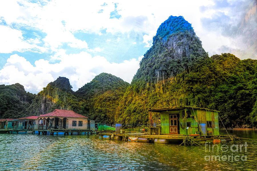 Vietnam Digital Art - Boat People Homes On Gulf Of Tonkin Ha Long Bay Vietnam by Chuck Kuhn