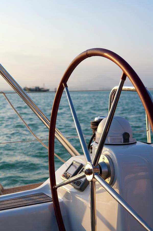 Boat Steering Wheel Photograph by Lane Oatey/blue Jean Images