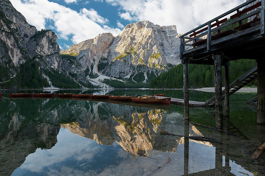Dolomites Photograph - Boathouse At Lago Di Braies by Jon Glaser