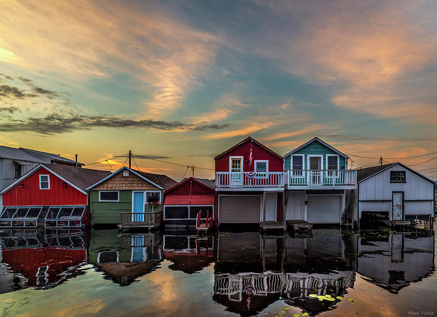 Boathouses At Sunset by Mark Papke