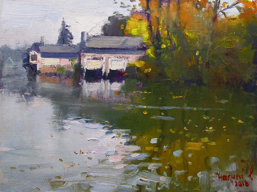 Boathouses Painting - Boathouses in Fall by Ylli Haruni