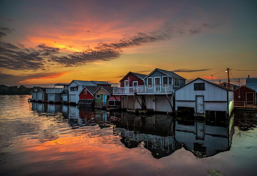 Boathouses On Canandaigua Lake by Mark Papke