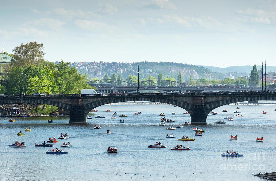 Boating On Vltava In Prague by Les Palenik