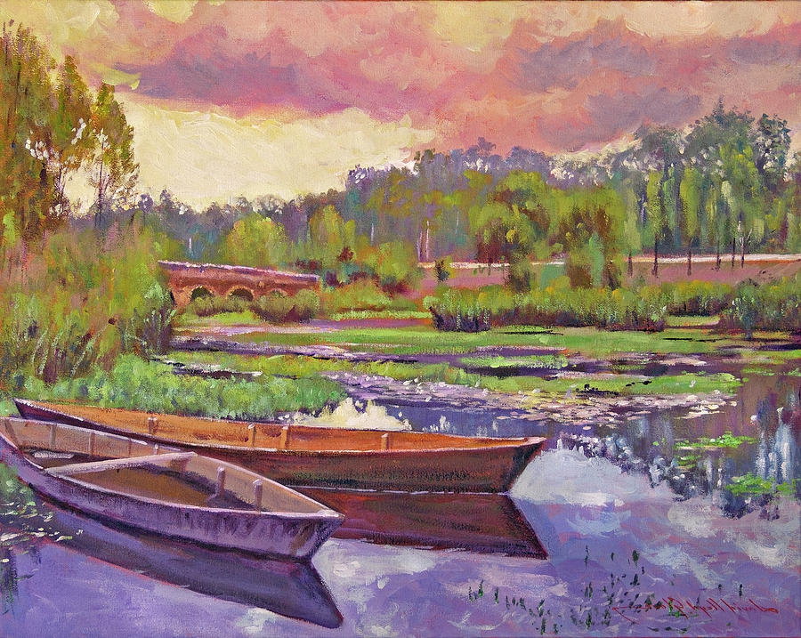 Boats Among The Lilies Painting
