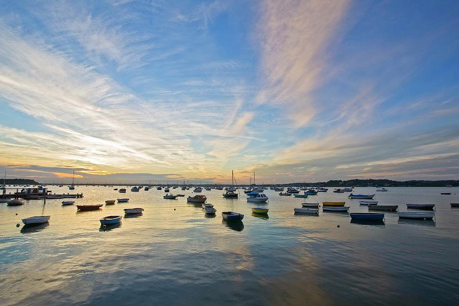 Boats Anchored In Water At Poole By David Henderson