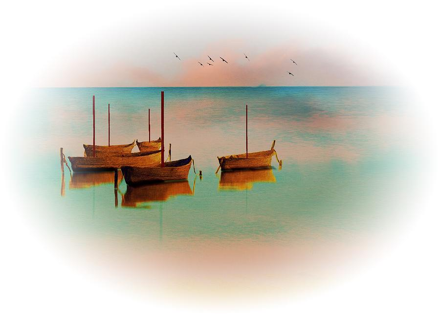 Boats and Birds At Dawn by Clive Littin