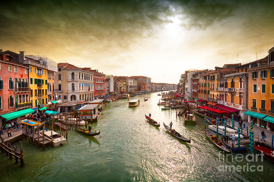 Venice Island Photograph - Boats And Gondolas On The Grand Canal by Photoff