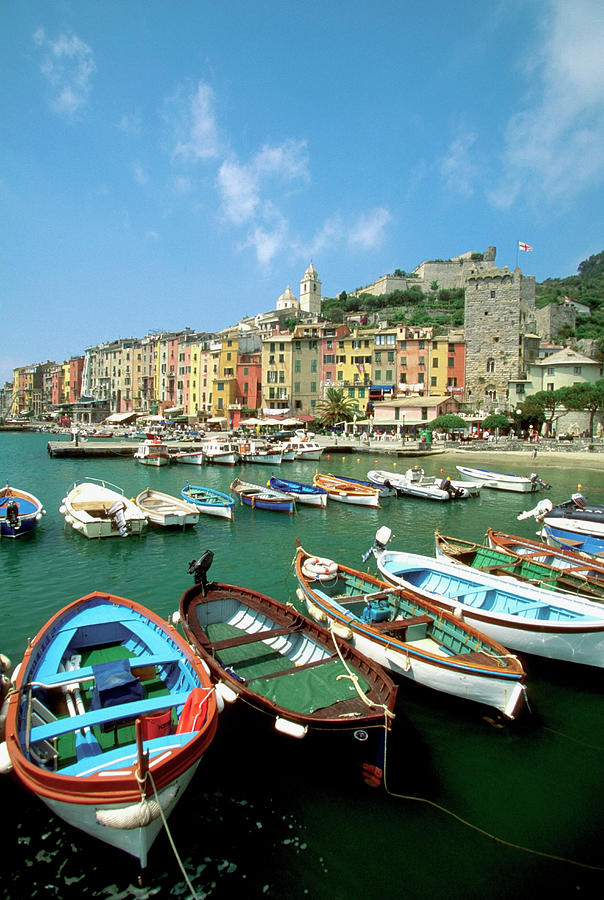 Boats At A Harbor, Portovenere, Italy Photograph by Medioimages/photodisc
