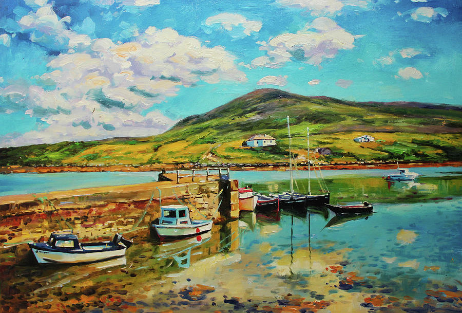 Boats at Curraun Pier, Achill, County Mayo by Conor McGuire