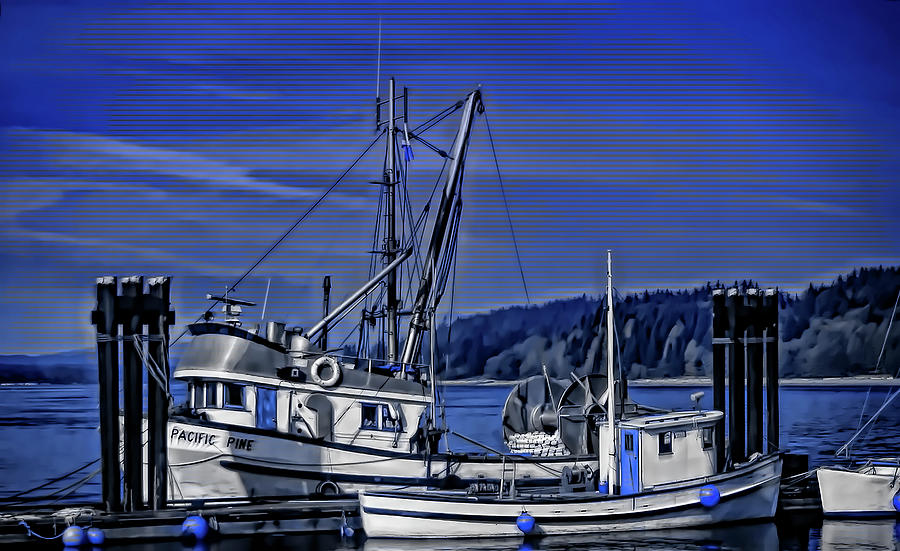 Boats at an Island Dock by Richard Farrington