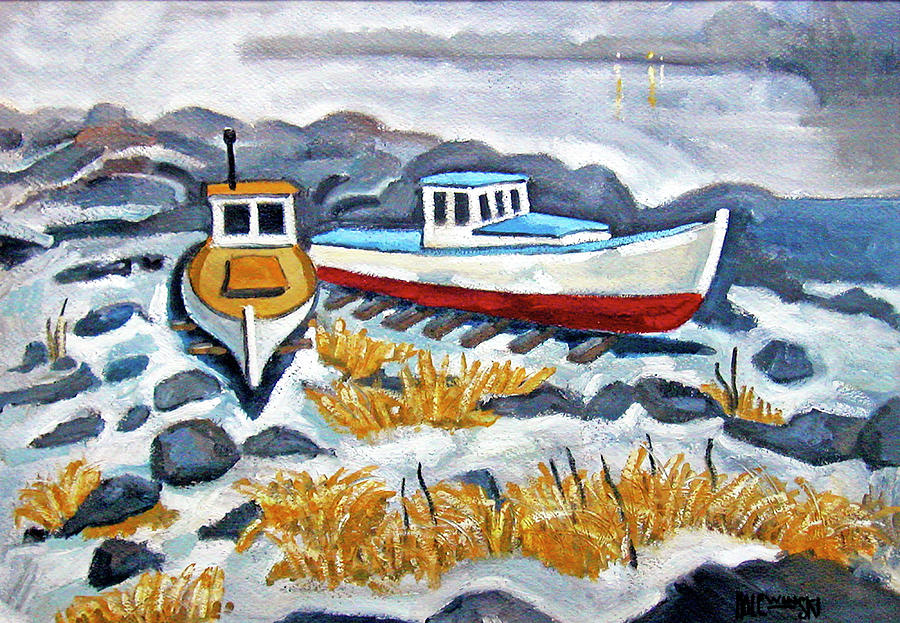 Boats Painting - Boats At Rest by Robert Holewinski