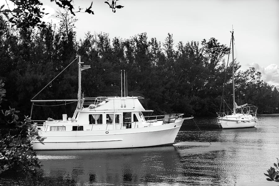Boats by the Cove Series 8892 in BW by Carlos Diaz