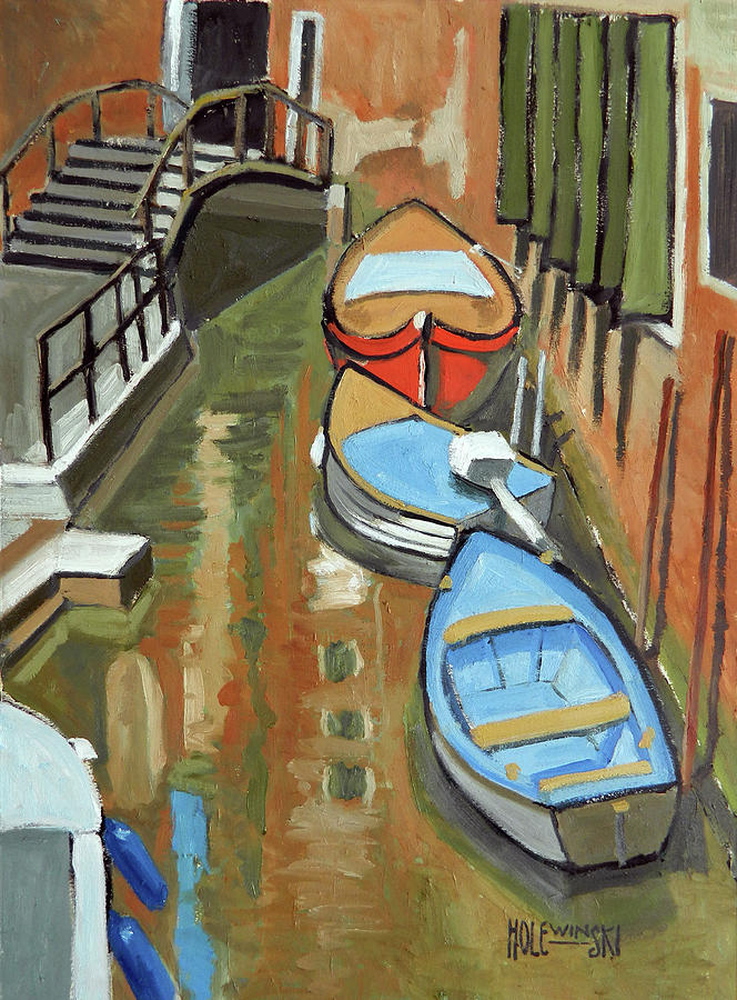 Venice Painting - Boats In A Venice Canal by Robert Holewinski