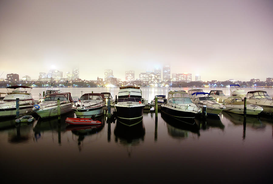 Boats In Boston Harbor At Night Photograph by Thomas Northcut