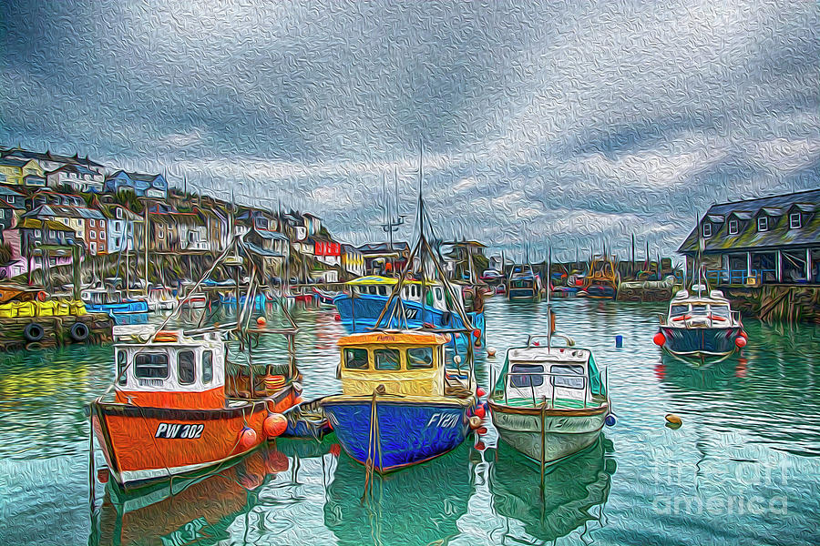 Boats in Mevagissey Harbour. by Chris Thaxter
