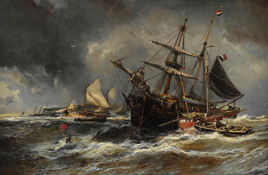 Boats In The Storm Painting by Eugene Isabey