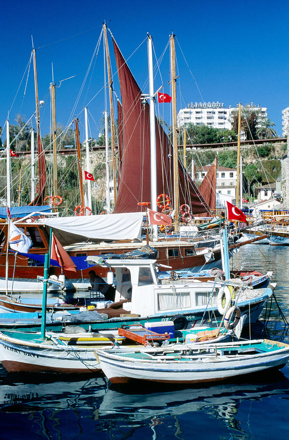 Boats Moored In Roman Harbour, Kaleici Photograph by Dallas Stribley