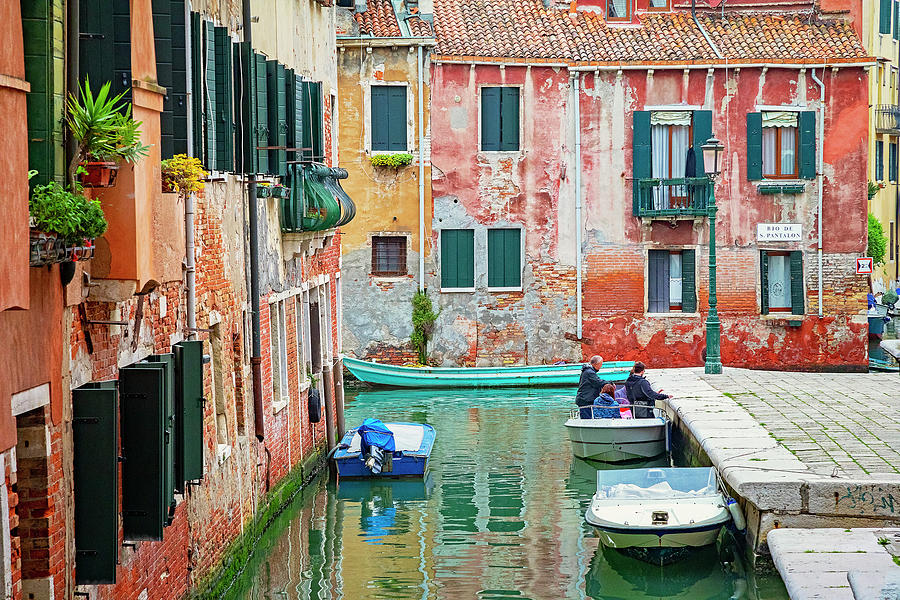 Boats on a Venetian Canal by Lowell Monke