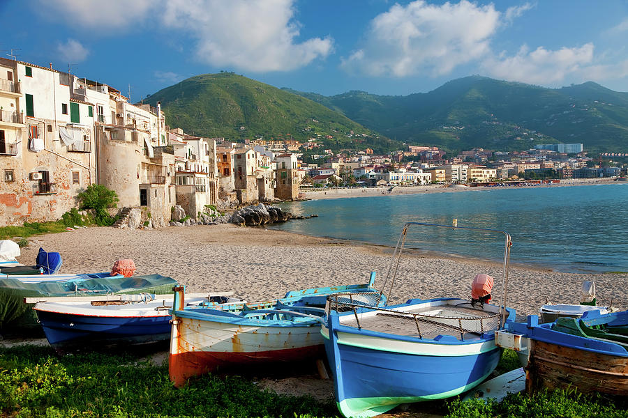 Boats On The Beach, Cefalu, Sicily Photograph by Peter Adams