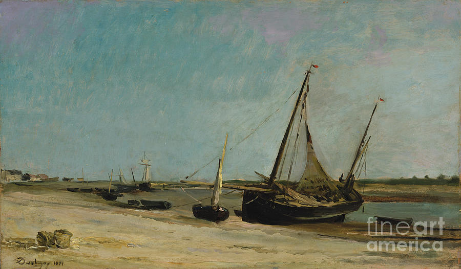 Boats On The Seacoast At Étaples Drawing by Heritage Images