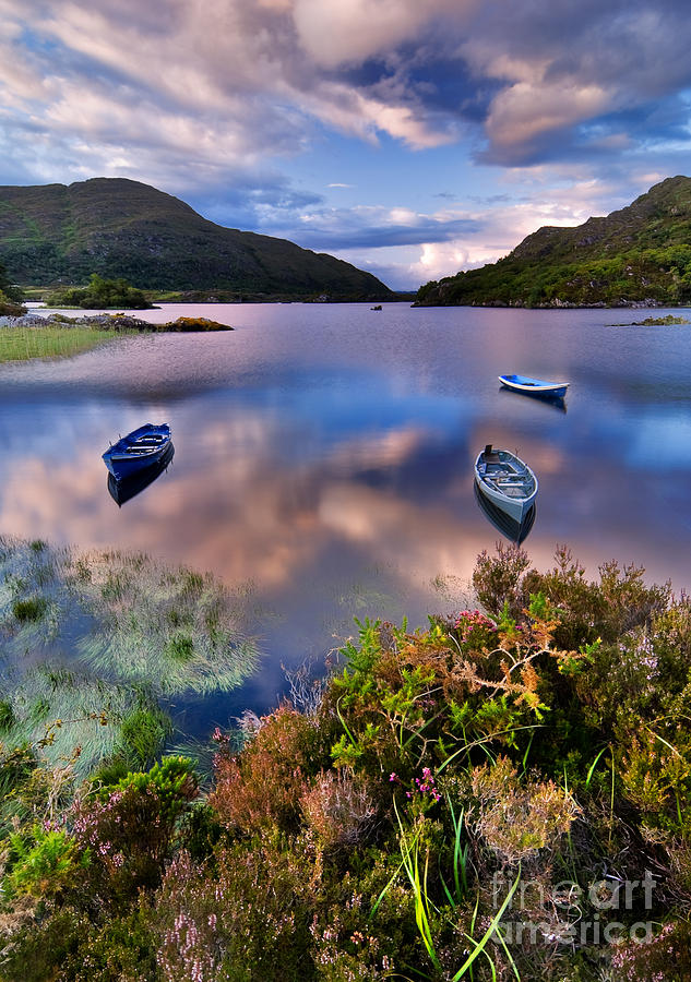 Pond Photograph - Boats On Water In Killarney National by Tiramisu Studio