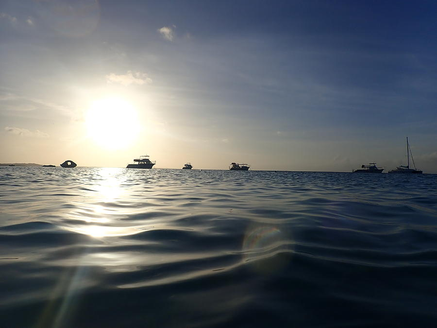 Boats Silhouette At Sunset Photograph