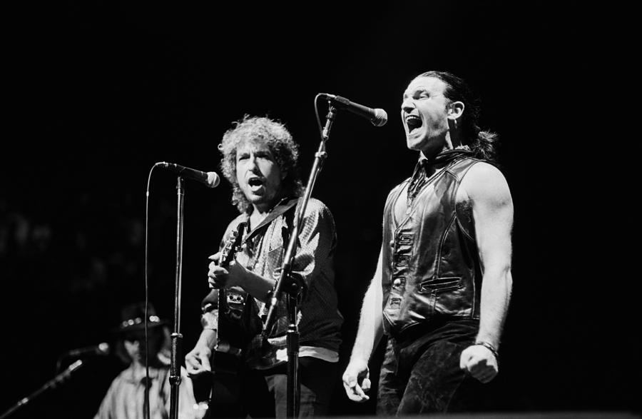 Bob Dylan Performs With U2 In Concert Photograph by George Rose