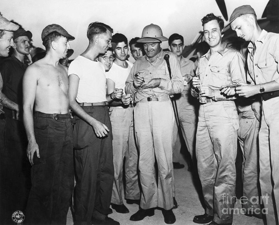 Bob Hope Signing Autograph For Soldiers Photograph by Bettmann