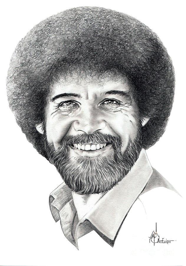 78036c27 Bob Ross Drawing by Murphy Elliott