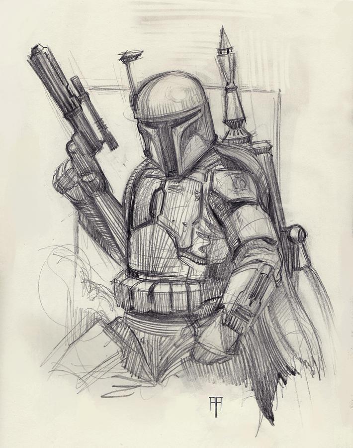 Star Wars Drawing - Boba Fett by Alex Ruiz