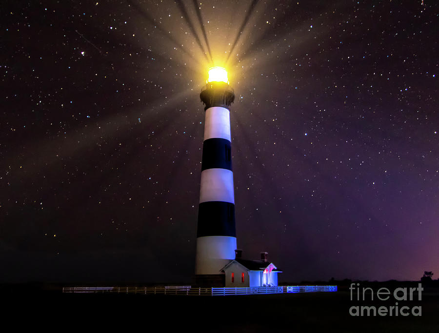 Bodie Lighthouse Stars at Night by Norma Brandsberg