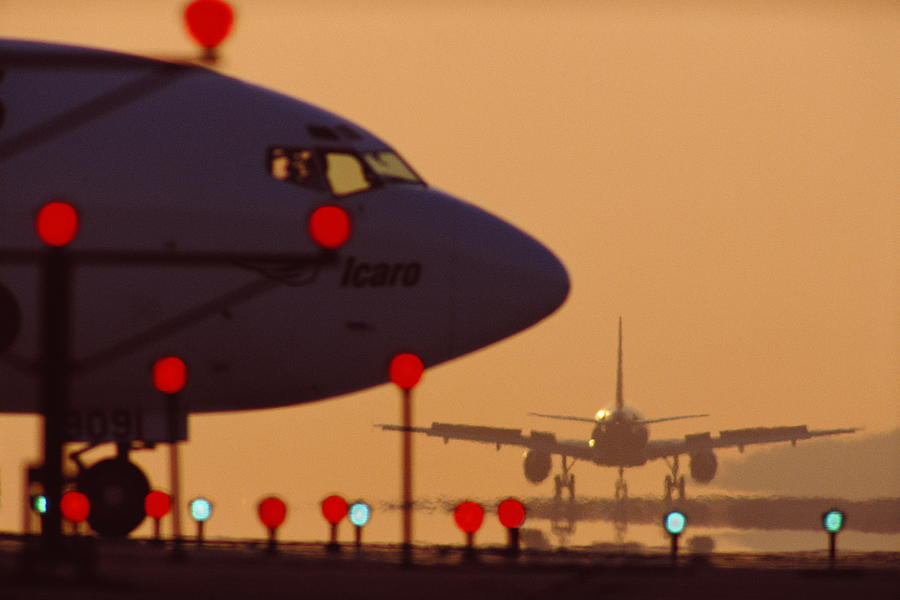 Orange Color Photograph - Boeing 727 Nose In Silhouette At by Nick Gunderson
